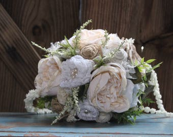 Rustic Chic Bridal Bouquet, Centerpiece with burlap and lace flowers, satin flowers, pearls, Heather, cascading foliage, fabric bouquet