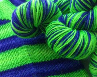 Hand dyed self striping merino sock yarn - Slimer