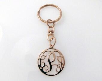 "Monogram key chain. 0.8"" monogram key chain. Personalized key chain. Rose gold key chain. Rose gold monogram key chain."