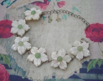 MOTHER of PEARL link Bracelet or Floral Pendant w. Silver P. chain.