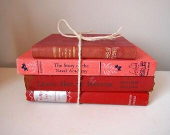 Bundle of 4 Vintage Red/Pink Books