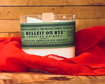Bulleit Bourbon Customized Candle/Bourbon Candle/Soy Candle/Gift for Dad/Gift for Him/Man Cave/Birthday Gift/Secret Santa/Anniversary Gift