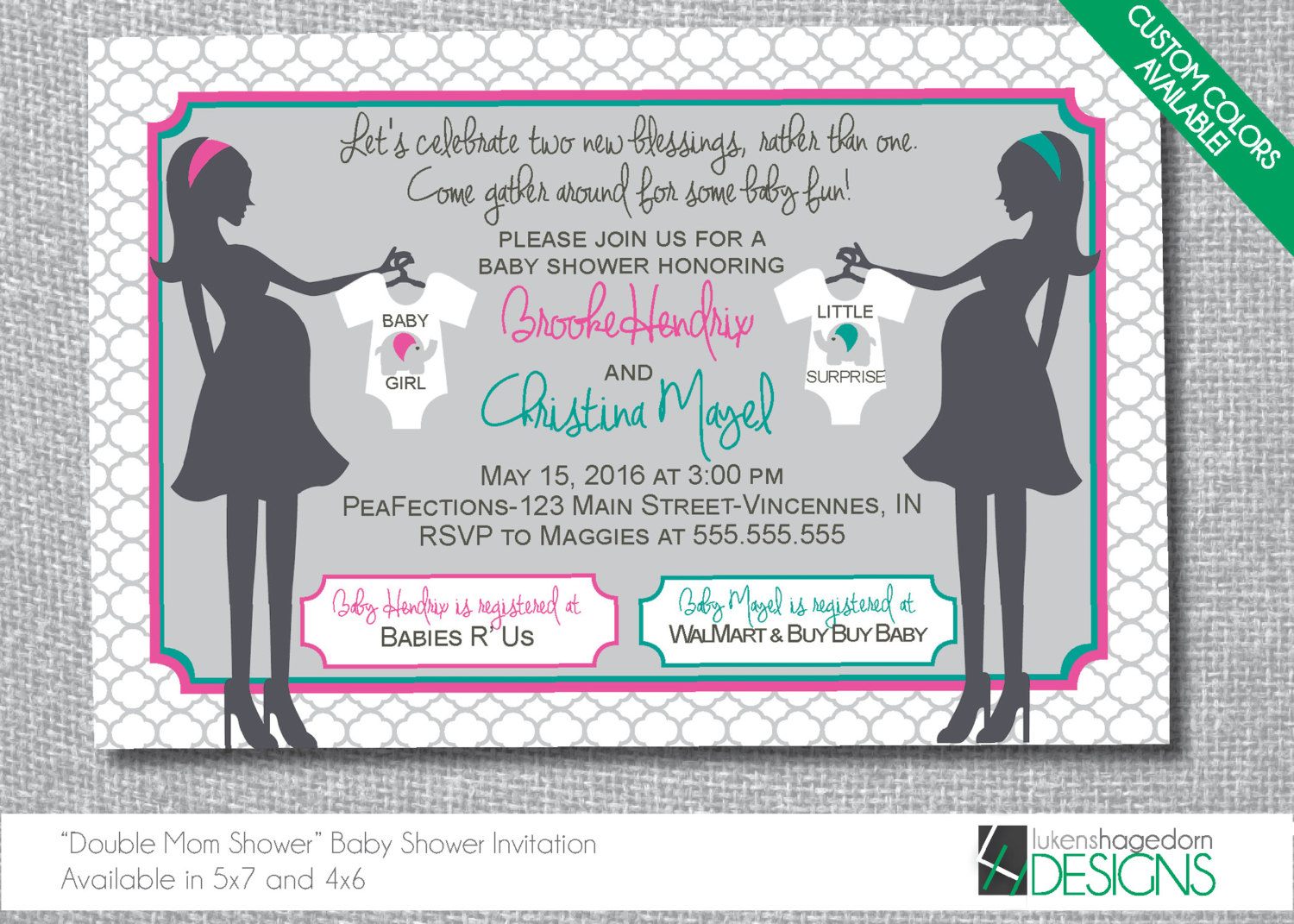 Mothers Double Baby Shower Invitation Custom Colors
