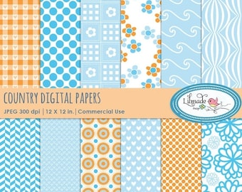50%OFF Country digital papers, country style scrapbook papers, gingham digital paper, folk digital paper, commercial use paper, P55