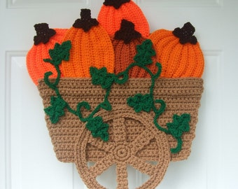 CROCHET PATTERN - CV040 Pumpkin Wagon Door Hanging - PDF Download