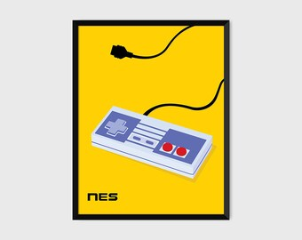 Japanese NES Gaming Controller Print Pop Art Illustration Poster [yellow]