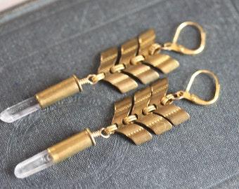 Long Chevron Earrings Crystal Bullet Earrings Bohemian Jewelry