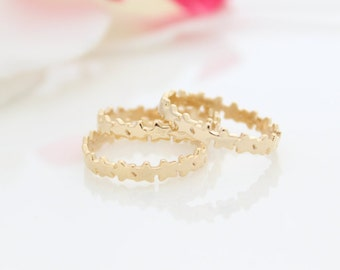 Stars Gold Ring • Gold stacking ring with stars • Gold stars band