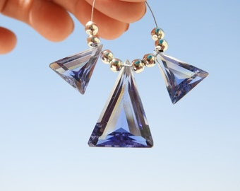 3 Pcs Trios Iolite Blue Quartz Faceted Fancy Triangular Shaped Beads Size 26X18 - 16X13 MM