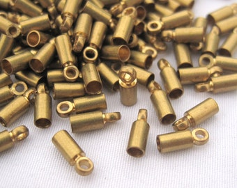 30pcs Mini End Cap for Gemstone Leather Cord 2.5mm Brass End Charm t078