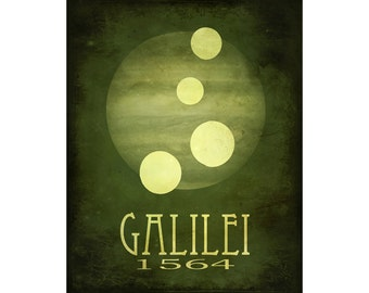 Galileo Galilei 16x20  - Rock Star Cosmic Pioneer Fine Art Astronomer Poster Print - Moons of Jupiter