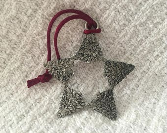 Seagull Pewter Ornament, 5 Trees in Shape of Star, 1997, Canada, Tree Star, Pewter Ornament