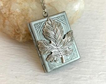 Book Locket Necklace, maple leaf locket, vintage silver locket, silver book locket, teacher gift, photo locket, book lover, memorial locket