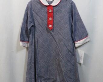 Vintage Dress 60s 1960s Girls MOD Dress Red White Blue Plaid Modest Cotton Smock Aline