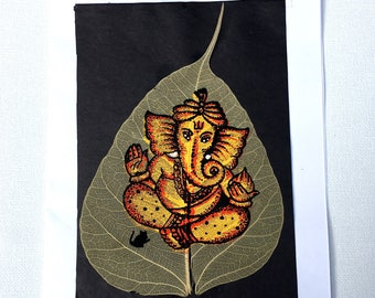 Ganesha Leaf Painting; Oil Painting