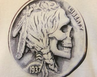 Leech's 1937 Indian Skull Hobo Nickel T-shirt