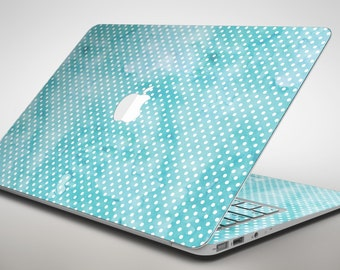 Teeny Tiny White Polka Dots on Aqua Watercolor - Apple MacBook Air or Pro Skin Decal Kit (All Versions Available)
