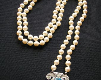 Art Deco Backdrop Necklace, Long Pearl Necklace, Great Gatsby, Flapper Pearls, Upcycled, Turquoise, Teal, Blue Jewelry, Rhinestone Necklace