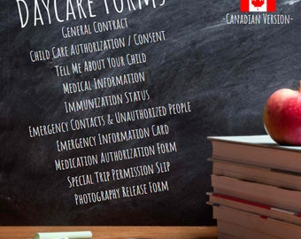 Daycare Forms - Canadian Version - Editable Forms / Templates - Daycare Contract - Authorization Forms - Childcare Forms