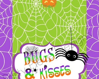 Halloween 'Bugs and Kisses' Treat Bag Topper. INSTANT DOWNLOAD
