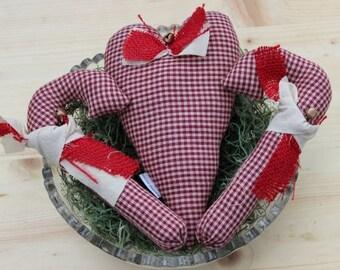 Cuore di tessuto primitivo caramella canna ciotola riempitivo, zucchero filato primitivo ornamento di Natale. Zucchero filato ripiene. Primitivo arredamento ciotola di Natale