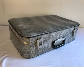 Old travel trunk suitcase gray + handle Bakelite Vintage decor
