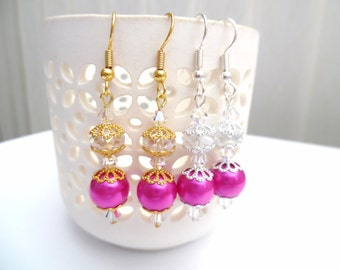 Hot Pink Pearl Earrings for Bridesmaids Gifts, Pearl and Crystal, Earrings with Swarovski Elements, Wedding Dangle Earrings, Drop Earrings