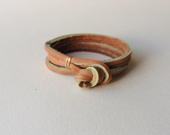 """the """"Double Double"""" leather wrap bracelet - tan / simple unisex woman man womens mens men's thick minimalist rugged gold silver brown knot"""