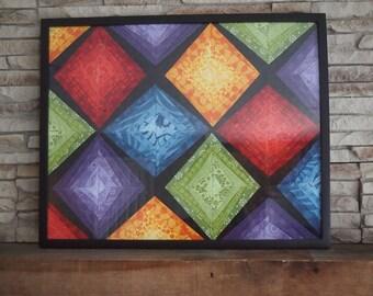 Miniature colorful quilt. String quilt art. Framed mini quilt.