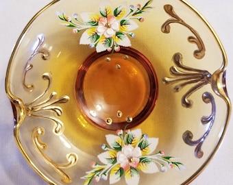 Beautiful Hand Painted Trinket Dish