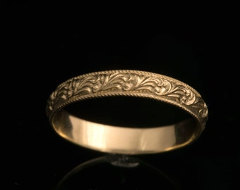 Unique Wedding Ring, 18k Gold Wedding Ring, Gold Wedding Ring, Wedding Band Women, Stack Wedding Ring, Patterned Wedding Band, Antique Style
