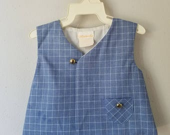 Vintage Boys Blue Plaid Vest with Brass Buttons by C.I. Castro - Size 6-9 months- New, never worn
