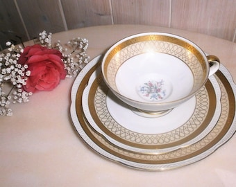 Vintage Tea Cup, Saucer and Dessert Plate, Trio Set by Zeh Scherzer / / Bavaria Germany / / Gifts for Her / / Replacement China