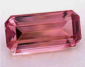 VINTAGE PINK TOURMALINE Faceted Gemstone Mozambique emerald cut 6.98 cts