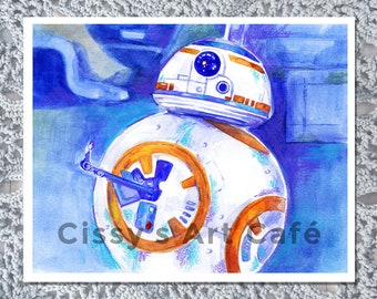 BB-8 Mixed Media Art Print and Postcard || Hand-drawn Artwork ||  Watercolor and Colored Pencil