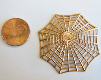 Spider web (1) VIntage brass large slightly concave pendant charm bead avante gard goth 1.5 inches (1)