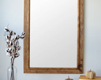 Wooden Mirror with Inset Trim - Wall Mirror - Large Wood Mirror - Rustic Mirror - Free Shipping