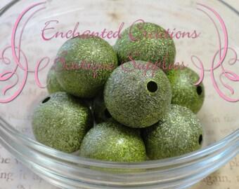 20mm Green Stardust Acylic Beads Qty 10