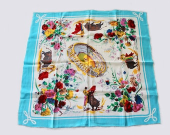 Vintage 1950's Spanish Bullfight and Florals Design Souvenir Scarf with Light Blue Border