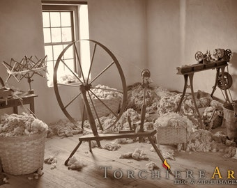 Spinning Wool at Greenbank Mill, Delaware Photography Fine Art Photo, Colonial Wall Decor Spin Wheel, American History Art, 8x12 Print