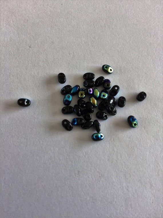 Matubo Czech MiniDuo bead Jet AB 2.5x4mm 2 hole bead 10g