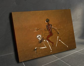 """Basquiat print Oil Painting Artwork Canvas Wall Art Print """"riding with death"""""""