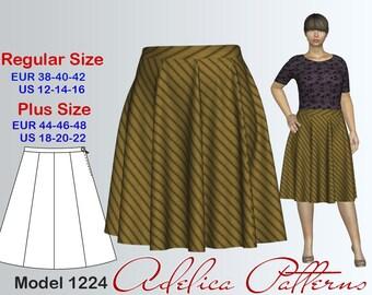 Gored Skirt Sewing Pattern for sizes 12-22, Skirt PDF Instant Download Sewing Pattern, Gored Skirt Pattern