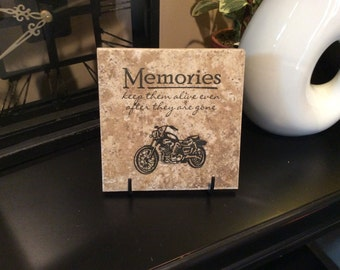 "Memories, Motorcycle, 6.5"" x 6.5"" Ceramic Tile, Home Decor"