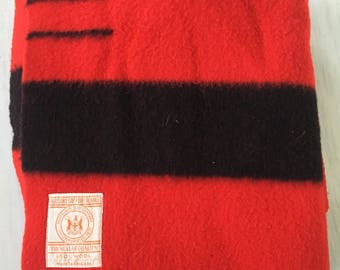 Rare Vintage Red and Black Hudson's Bay 3.5 Point 100% Wool Blanket