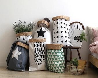 Geometric paper bag storage, Storage Bin, Storage Basket, Toy Storage, kids decor,paper bag