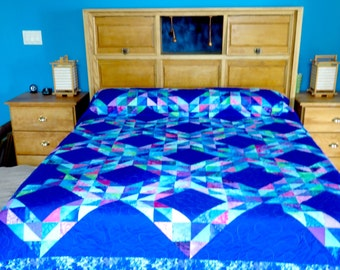 Queen Size King Size Ocean Waves Quilt in Blue, Purple, Pink and Green Queen Quilt King Quilt