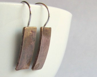 Modern Bronze Bar Earrings - Minimalist Earrings - Christmas Gift - Secret Santa - Gift Under 30 - 19th Anniversary Gift