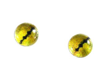 6mm Yellow Snake Glass Eyes - Taxidermy Eyes for Doll or Jewelry Making - Set of 2 - Reptile Eyes