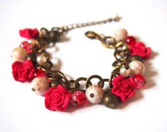 Red Rose Bracelet ( charm bracelet bronze bracelet rose bracelet flower bracelet beaded bracelet  rose jewelry bridesmaid gift bridesmaid )